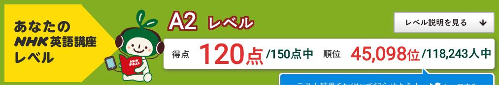 2020.4.11は120点でした - 英語力測定テスト2020 (2020.2.1〜2021.1.31 (C)NHK出版)